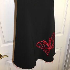 Dresses - Black Sleeveless Butterfly Semi Formal Dress